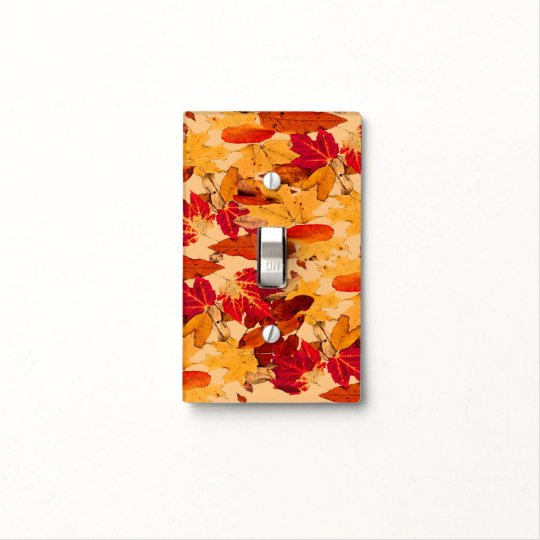 Autumn Foliage in Red Orange Yellow Brown Light Switch Cover