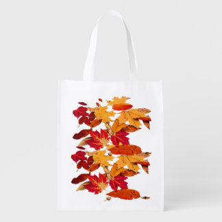Autumn Foliage in Red Orange Yellow Brown Reusable Grocery Bag