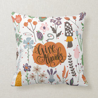 Autumn & Foliage With Giving Thanks-Typography Throw Pillow