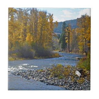 Autumn forest and river scene tile