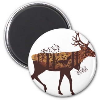 Autumn Forest Landscape and Deer 2 2 Inch Round Magnet