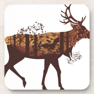 Autumn Forest Landscape and Deer 2 Beverage Coasters