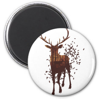 Autumn Forest Landscape and Deer 2 Inch Round Magnet