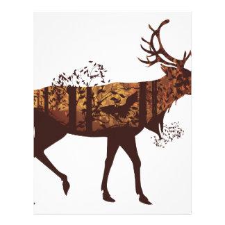 Autumn Forest Landscape and Deer 2 Letterhead Template