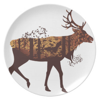 Autumn Forest Landscape and Deer 2 Plate