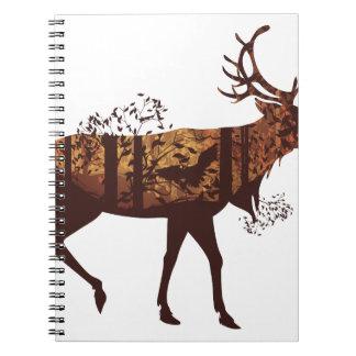 Autumn Forest Landscape and Deer 2 Spiral Notebook