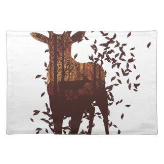 Autumn Forest Landscape and Deer Placemat