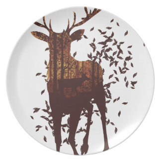Autumn Forest Landscape and Deer Plate