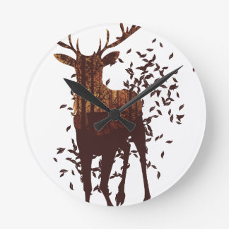 Autumn Forest Landscape and Deer Round Clock