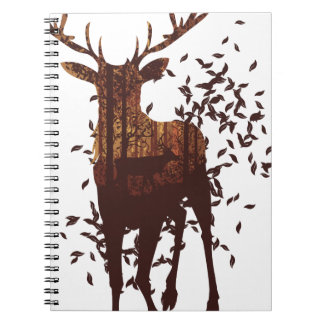 Autumn Forest Landscape and Deer Spiral Notebooks