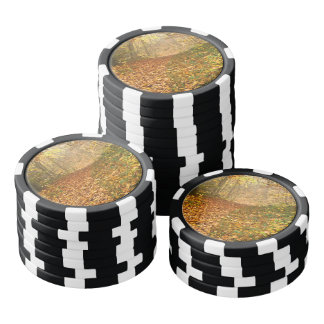 Autumn forest set of poker chips