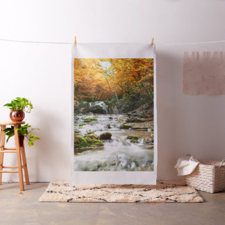 Autumn Forest Waterfall Tapestry Fabric