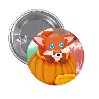 Autumn Fox 1 Inch Round Button