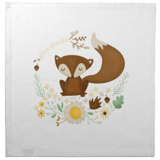 Autumn Fox Give Thanks Napkin for Thanksgiving