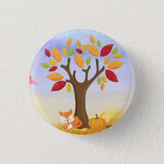 Autumn Fox with Pumpkin 1 Inch Round Button