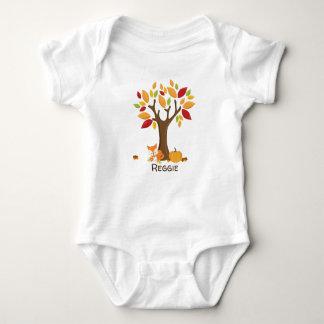Autumn Fox with Pumpkin Personalized Baby Bodysuit