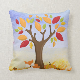 Autumn Fox with Pumpkin Throw Pillow