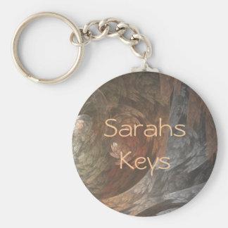 Autumn Fractal Swirl Basic Round Button Keychain