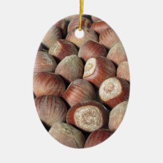Autumn fruit Closeup of hazelnuts Food background Ceramic Ornament