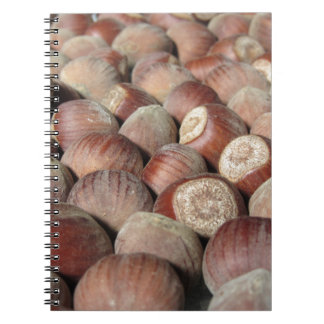 Autumn fruit Closeup of hazelnuts Food background Notebook