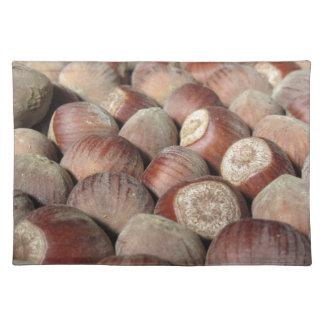 Autumn fruit Closeup of hazelnuts Food background Placemat