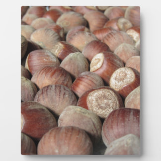 Autumn fruit Closeup of hazelnuts Food background Plaque