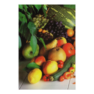 Autumn fruits and vegetables poster