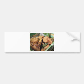 Autumn fruits . Closeup of dried figs with leaves Bumper Sticker