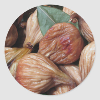 Autumn fruits . Closeup of dried figs with leaves Classic Round Sticker