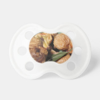 Autumn fruits . Closeup of dried figs with leaves Pacifier
