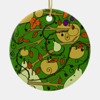 Autumn fruits round ceramic ornament
