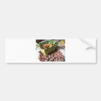 Autumn fruits with hazelnuts and dried figs bumper sticker