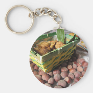 Autumn fruits with hazelnuts and dried figs keychain
