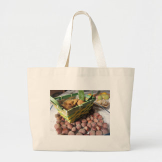 Autumn fruits with hazelnuts and dried figs large tote bag