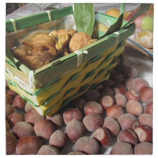 Autumn fruits with hazelnuts and dried figs napkin