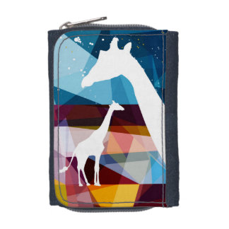 autumn giraffes - cattle portfolio denim wallet