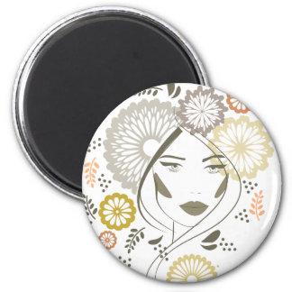Autumn girl portrait fridge magnet