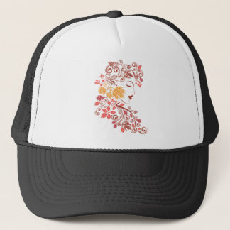 Autumn Girl with Floral 7 Trucker Hat