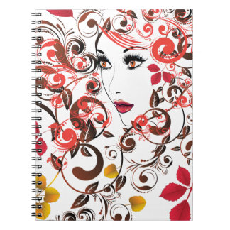Autumn Girl with Floral 9 Notebook