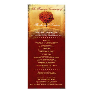 Autumn Glory Red Tree Wedding Program Full Color Rack Card