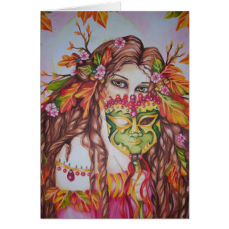 Autumn Goddess Harvest Moon Masquerade Notecard