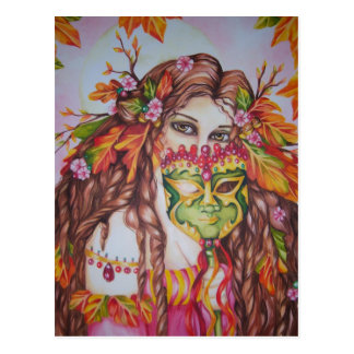 Autumn Goddess Harvest Moon Masquerade Postcard