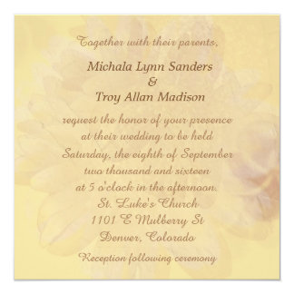 "Autumn Gold Abstract Floral Wedding 5.25"" Square Invitation Card"