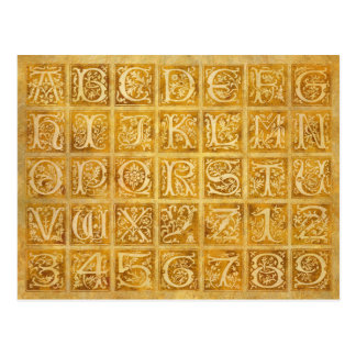Autumn Gold Alphabet and Numbers Postcard