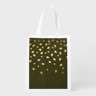 Autumn Gold Leaves Pattern Grocery Bags