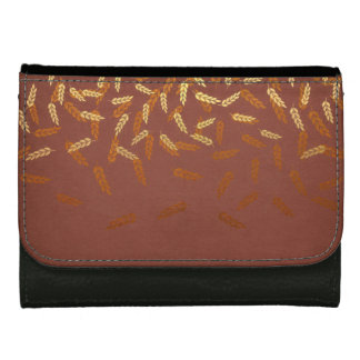 Autumn Gold Leaves Pattern Leather Wallet For Women