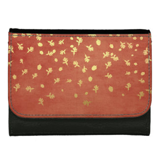 Autumn Gold Leaves Pattern Leather Wallets