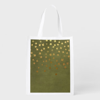 Autumn Gold Leaves Pattern Market Tote