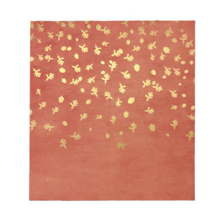 Autumn Gold Leaves Pattern Notepads