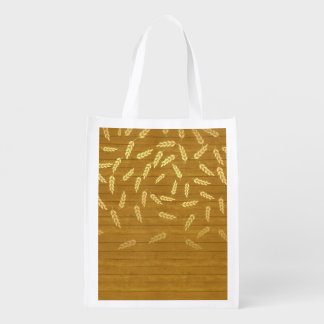 Autumn Gold Leaves Pattern Reusable Grocery Bags